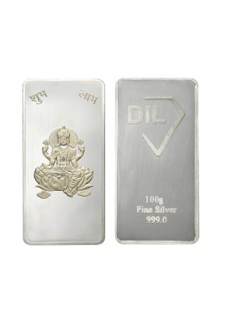 100gm Laxmi Non Colour 999  Purity Silver Bar