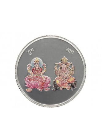 10gm Laxmi /Ganpati Colour 999  Purity Silver Coin