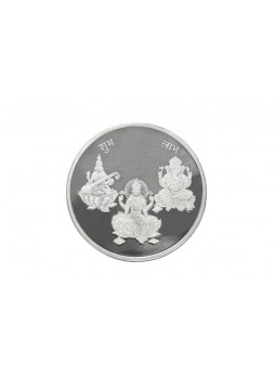 50gm Laxmi /Ganpati/Saraswati Non Colour 999  Purity Silver Coin