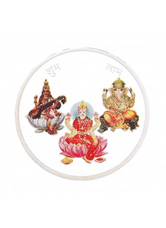 20gm Laxmi /Ganpati/Saraswati Colour 999  Purity Silver Coin