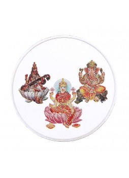 50gm Laxmi /Ganpati/Saraswati Colour 999  Purity Silver Coin